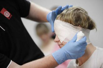 Practical skills are taught during St John First Aid classes.